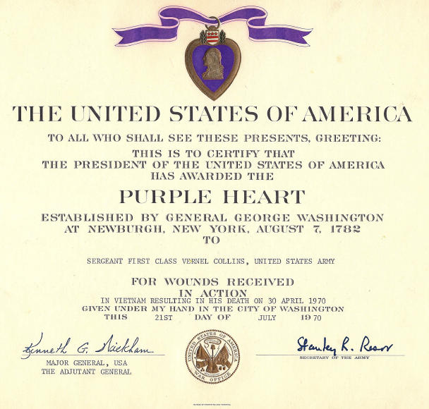 Vernel collins for Purple heart citation template