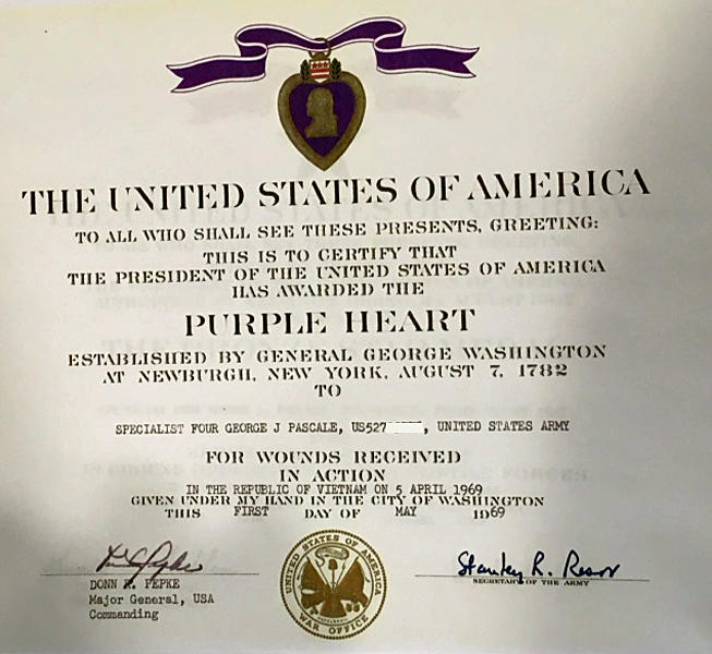 Purple heart award certificate george john pascale for Purple heart citation template